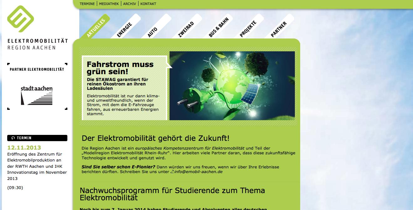 Screenshot emobil-aachen.de